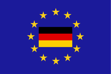 Vector flag of EU with Germany