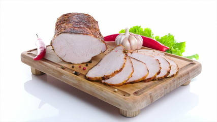 HamHam with herbs over white background