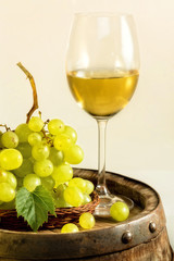 Glass of white wine and grapes on old barrel, in light cellar.