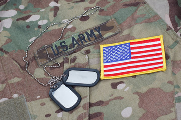 us army camouflaged uniform with US flag patch