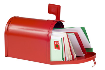 Blank Mail Box Filled With Christmas Cards