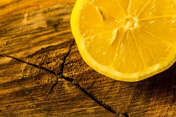 Lemon on a tree trunk cut