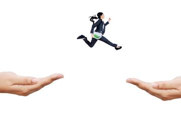 Businesswoman runs hurry through hands