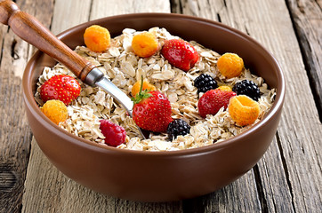 Breakfast with oatmeal and fresh berries