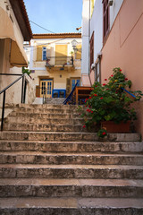 Street in the old town of Nafplio, Peloponnese, Greece.