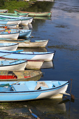 Group of fishing boats aligned with vertical composition
