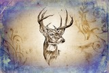 Fototapeta antique stag art drawing handmade nature