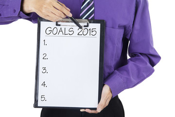 Person with business goals in 2015