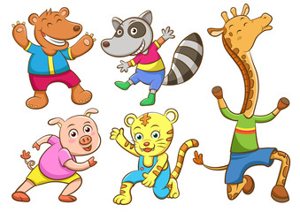 Cute cartoon happy animal set
