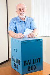 Senior Man with Ballot Box
