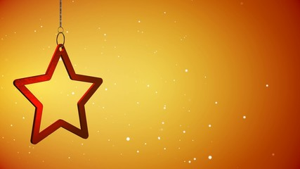 4K VID - Red Christmas Star Tag Yellow - Background