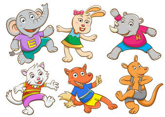 Cute cartoon happy animal set.