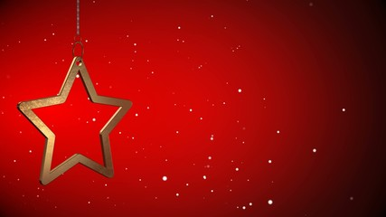 4K VID - Golden Christmas Star Tag - Red Background