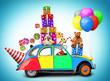 Obrazy na płótnie, fototapety, zdjęcia, fotoobrazy drukowane : Colorful car with gifts and toys, holiday
