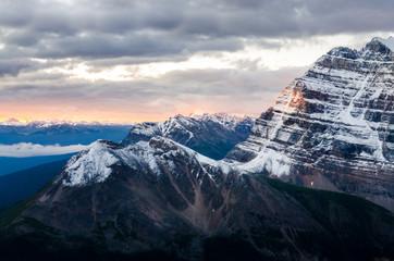 Mountain range view at colorful sunrise, Banff, Canada