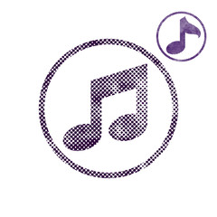 Music note icon with halftone dots print texture.