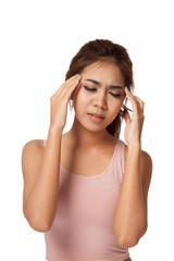 Pretty Asian girl have a headache