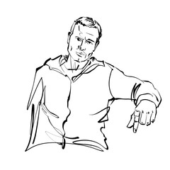 Black and white hand drawn illustration of a relaxed sitting man