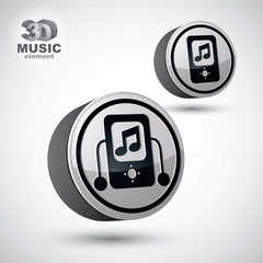 Mp3 player round icon isolated, 3d vector design element.