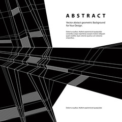 Vector abstract geometric background, techno style black and whi