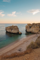 Beach in Algarve coast, summertime in Portugal
