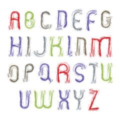 Vector light painted alphabet capital letters set, hand-drawn co
