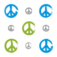 Set of hand drawn simple colorful vector peace icons, collection