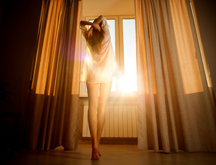 Woman in the morning. Attractive sexy woman near sunny window