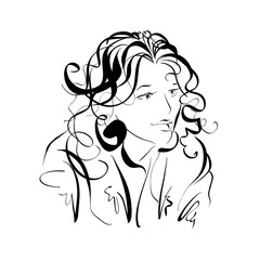 Monochrome hand drawn illustration of a woman, girl with curly h