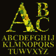 Floral font made with leaves, natural alphabet letters set, vect