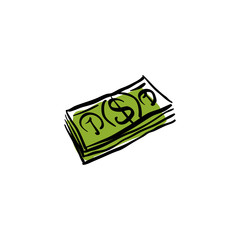 Vector green money packet icon, hand drawn bundle of money.