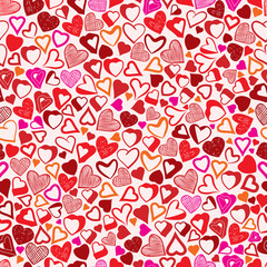Valentine background, different hearts seamless pattern.