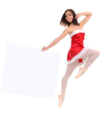 jumping ballet female dancer in red with banner