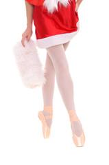 legs of professional ballerina on tiptoe