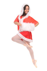 professional ballerina tiptoe in red Christmas dress