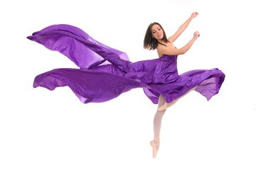 ballet female dancer in violet gown