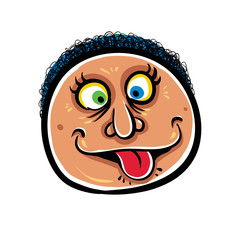 Foolish cartoon face, vector illustration.