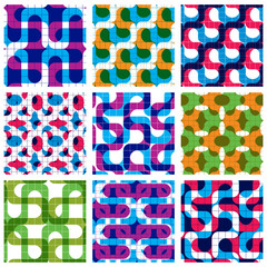 Set of multicolored grate seamless patterns with labyrinth and g
