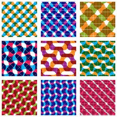 Set of multicolored grate seamless patterns with parallel ribbon