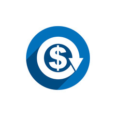 Money dollar sign with arrow vector simple single color conceptu
