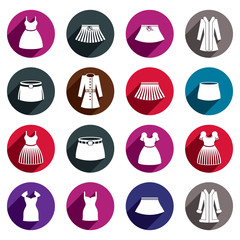 Dresses and skirts vector icon set.