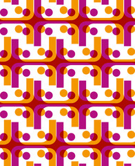 Bright dotted seamless pattern with red and yellow dots and line