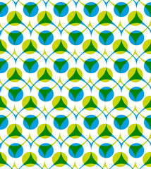 Colorful vector seamless pattern with green and blue dots, summe