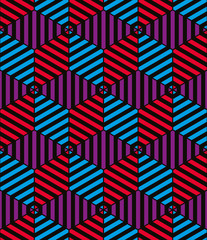 Lined 3d cubes seamless pattern, geometric vector background.