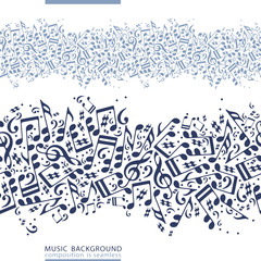 One-colored horizontal music canvas, vector seamless tape with s