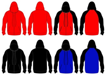 BLANK ZIP HOODIES DESIGN TEMPLATE FOR CLOTHING MENSWEAR
