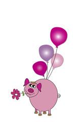 Cerdito rosa con globos
