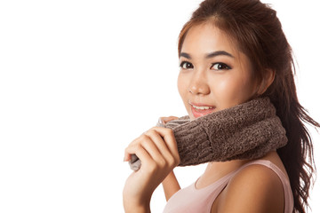 Asian girl exercise hold towel