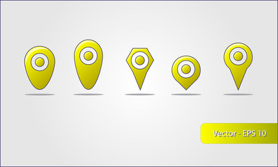 Map pin – Yellow (5 different types)