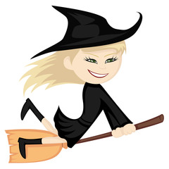 Witches all around - sexy blonde is riding on her broom
